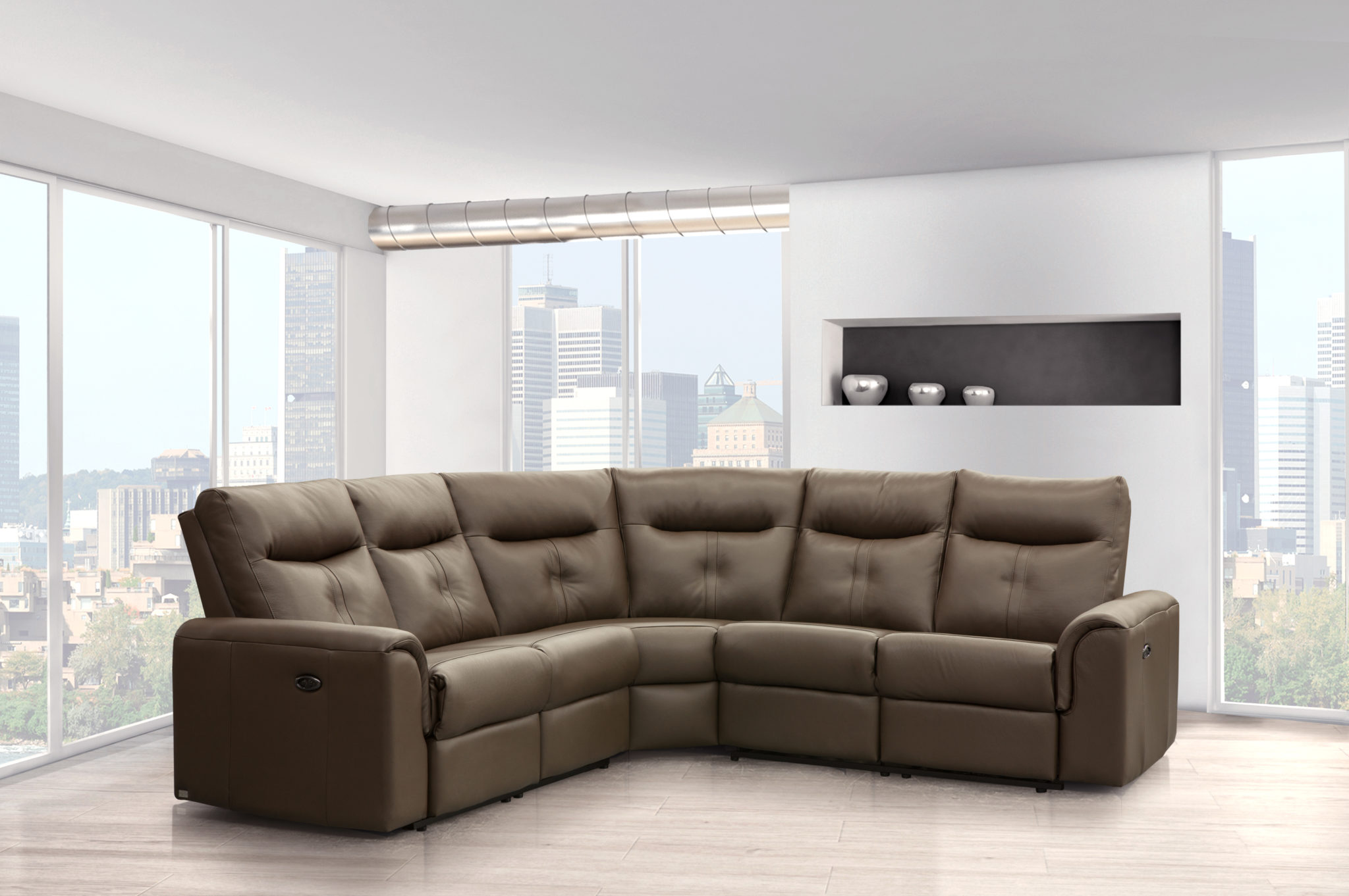 Elran 4016 Electric Reclining Leather Sectional